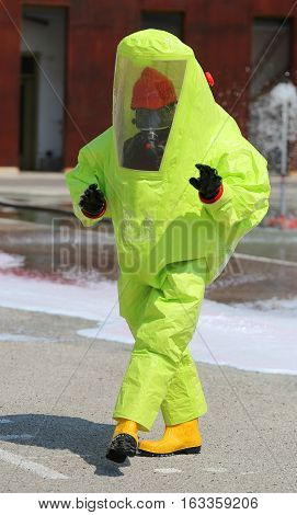 Person With Yellow Suit Biological Risk During An Anti-terrorism