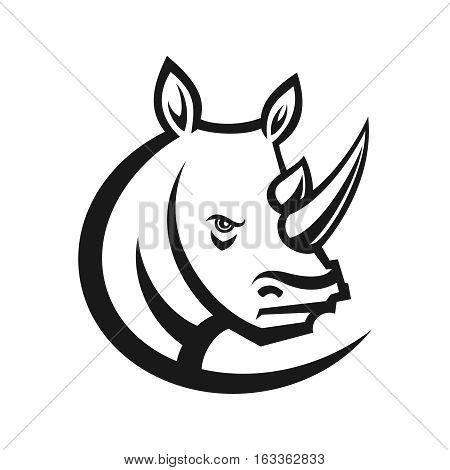 Rhinos head logo for sport club or team. Animal mascot logotype. Template. Vector illustration. Flat style