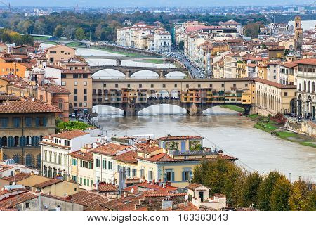 Above View Ponte Vecchio (old Bridge) In Florence