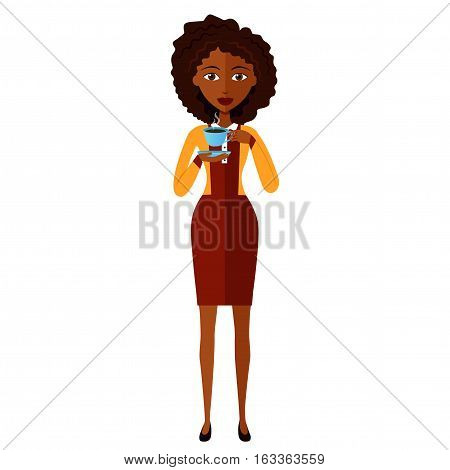 african american young woman standing and drinking coffee vector eps 10 cartoon flat
