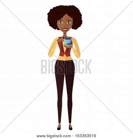 african american businesswoman standing and drinking coffee vector cartoon flat