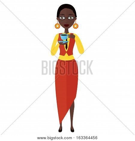 african american young businesswoman drinking coffee vector cartoon flat