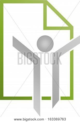 Human and sheet of paper, person, letter and accounting logo