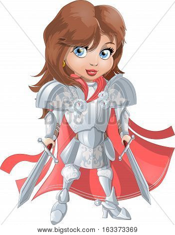 Girl Knight in armor on a white background