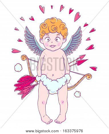 Valentine's day. Funny Cupid-boy in cloud pants with bow and arrows in his hands. Hearts around. Vector illustration isolated on white background. Card. T-shirt print.