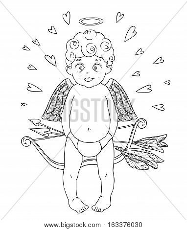 Valentine's day. Funny african american Cupid-boy in pants with bow and arrows in his hands and golden wings. Hearts around. Vector illustration isolated on white background. Card. Coloring page.