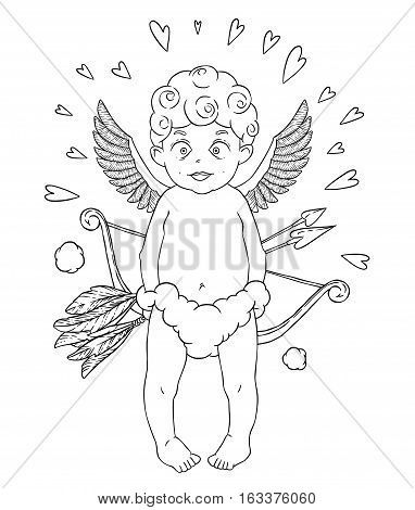 Valentine's day. Funny Cupid-boy in cloud pants with bow and arrows in his hands. Hearts around. Vector illustration isolated on white background. Card. Coloring page.