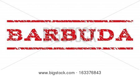 Barbuda watermark stamp. Text caption between horizontal parallel lines with grunge design style. Rubber seal stamp with scratched texture.
