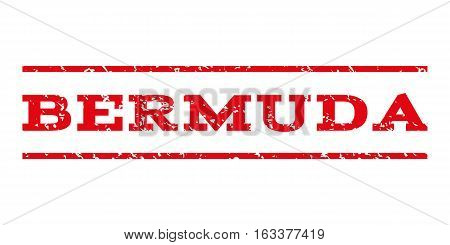 Bermuda watermark stamp. Text tag between horizontal parallel lines with grunge design style. Rubber seal stamp with dirty texture. Vector intensive red color ink imprint on a white background.