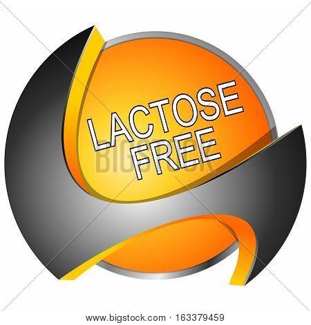 decorative orange Lactose free Button - 3D illustration