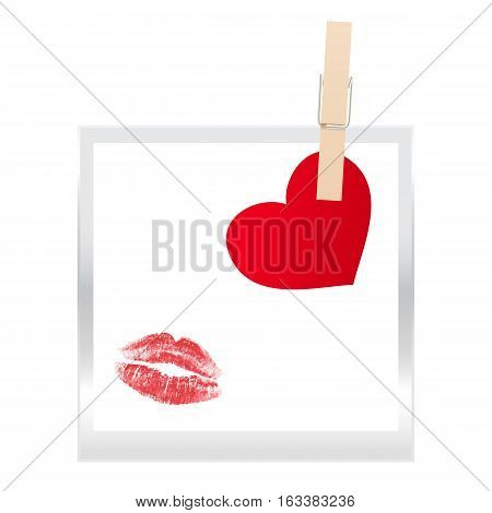 Frame and Heart isolated on white background. Vector illustration