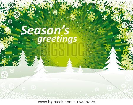 Vector green Winter landscape
