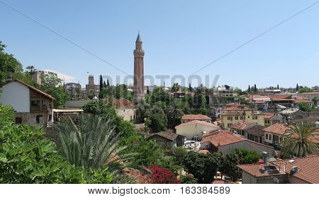 Yivli Minare Mosque, the Famous Landmark in Antalyas Oldtown Kaleici, Turkey