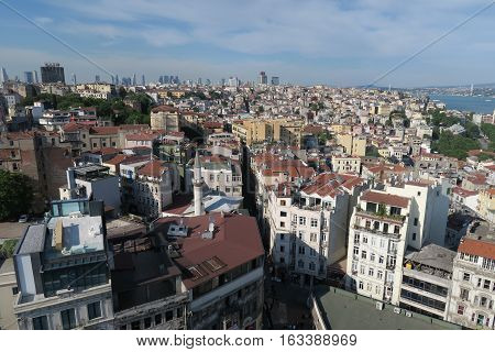 Galata-Beyoglu District in the North of the Golden Horn and West of the Bosporus in Istanbul. With Istiklal Caddesi.