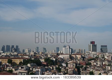 Galata-Beyoglu District in the North of the Golden Horn and West of the Bosporus in Istanbul. With Skyscrapers in the Background.