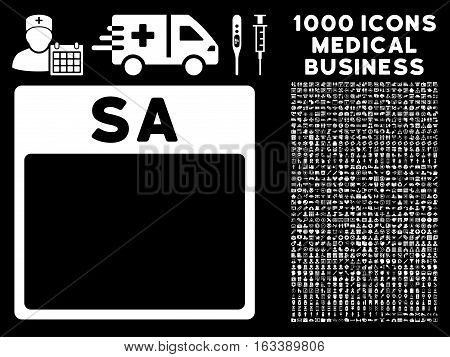 White Saturday Calendar Page vector icon with 1000 medical business pictograms. Set style is flat symbols, white color, black background.