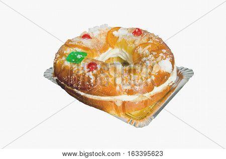 Roscon De Reyes Stuffed With Cream Isolated