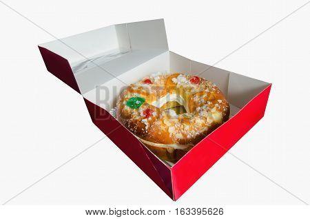 Roscon De Reyes Into An Open Box