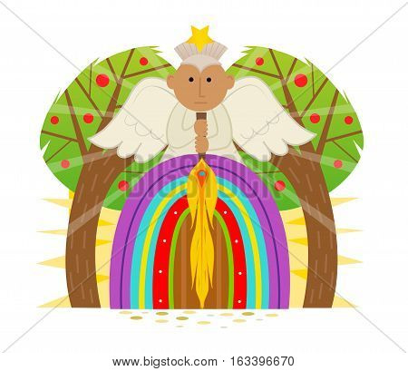 Cute Clip art of garden of Eden gate with an angel holding a flaming sword. Eps10