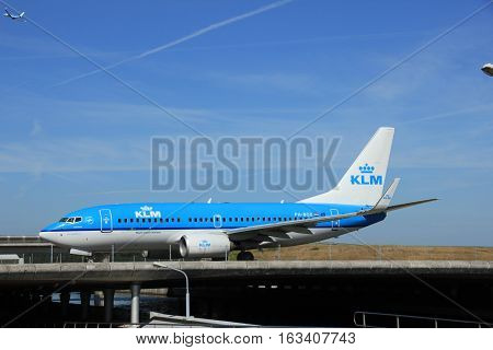 Amsterdam the Netherlands - June 9th 2016: PH-BGX KLM Royal Dutch Airlines Boeing 737 taxiing to Polderbaan runway Schiphol destination Oslo Norway