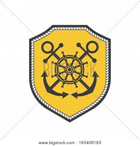 Maritime heraldic shield emblem. Vector nautical icon. Marine badge sticker element. Freehand drawn sail symbol. Stylized steering wheel, anchor sign. Advertisement label background, logo template