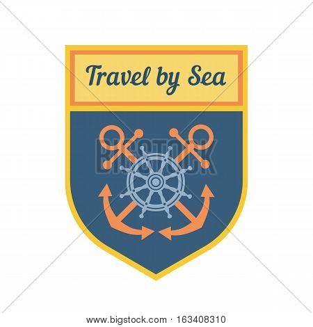 Maritime heraldic shield emblem. Travel by sea vector nautical icon. Marine badge sticker element. Freehand drawn symbol. Stylized steering wheel, anchor. Advertisement label background, logo template