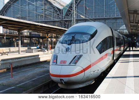 FRANKFURT GERMANY - MAR 29 2014: ICE Hispeed train or Intercity-Express in Frankfurt train station. Ice is a family of high-speed trains operated by Deutsche Bahn.