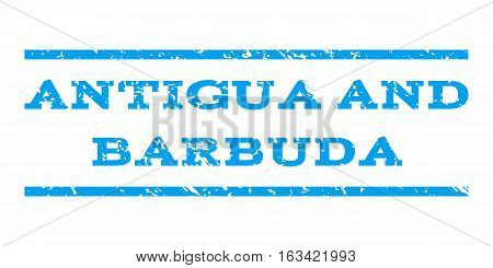 Antigua and Barbuda watermark stamp. Text tag between horizontal parallel lines with grunge design style. Rubber seal stamp with scratched texture. Vector blue color ink imprint on a white background.
