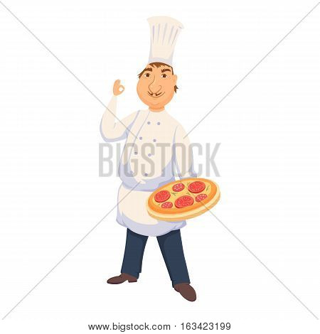 Chef cooking italian pizza in restaurant or pizeeria kitchen. Cute cook in uniform holding tray with tomato pie. Cartoon smile baker making healthy organic food. Professional master catering service