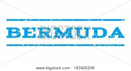 Bermuda watermark stamp. Text tag between horizontal parallel lines with grunge design style. Rubber seal stamp with scratched texture. Vector blue color ink imprint on a white background.