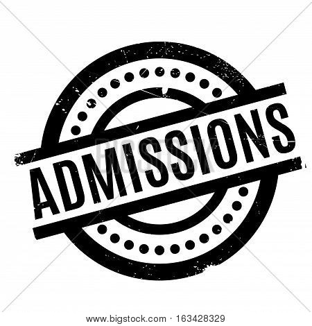 Admissions rubber stamp. Grunge design with dust scratches. Effects can be easily removed for a clean, crisp look. Color is easily changed.