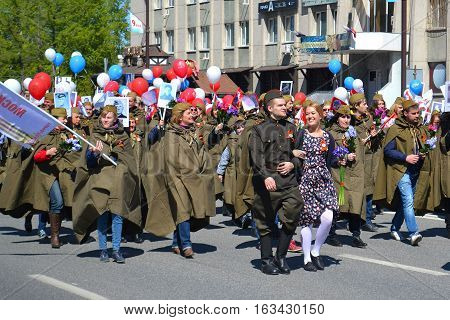 People in a military uniform participate in demonstration in honor of the Victory Day on May 9 2016. Tyumen Russia