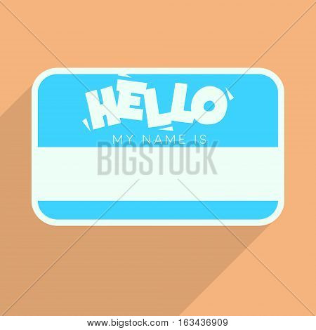 Personal Card With Text Hello My Name Is. Flat Vector Template. Blank Tag.