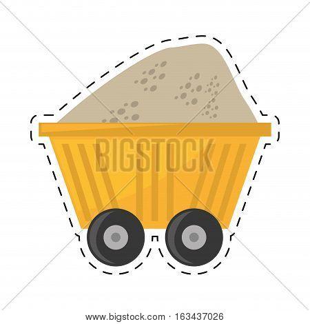cart train mining full mineral cut line vector illustration eps 10