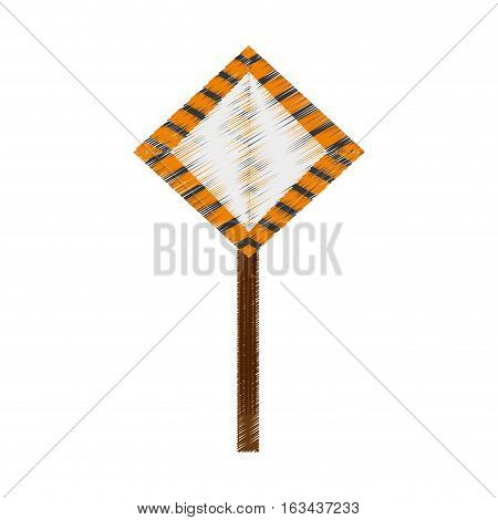 drawing sign road caution vector illustration eps 10