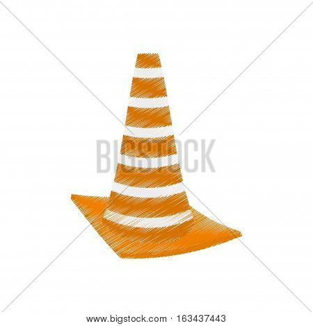drawing construction cone with stripes vector illustration eps 10