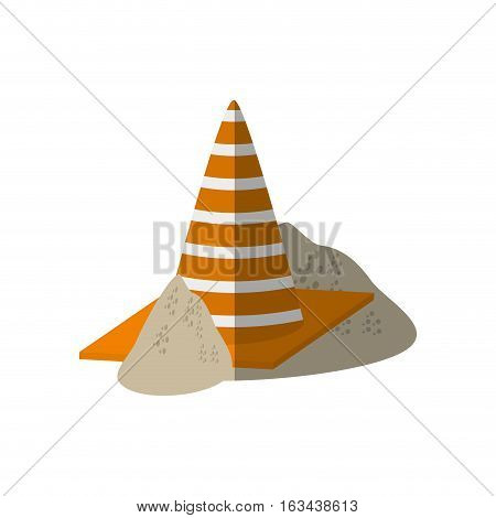 cartoon construction cone with stripes sand vector illustration eps 10