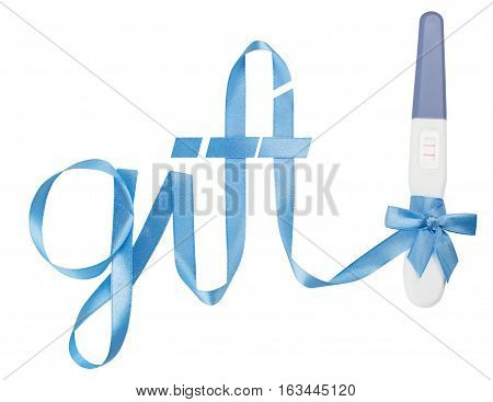 Word gift written gift ribbon blue. A positive pregnancy test. White background, isolated