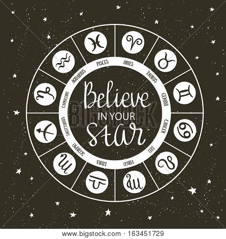 Zodiac circle with horoscope signs and inspiring phrase