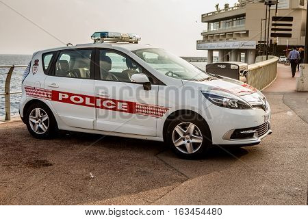Monte Carlo Monaco - November 4 2016: Car of Monaco Police Patrol on the City Street of Monte Carlo Monaco.