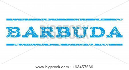 Barbuda watermark stamp. Text caption between horizontal parallel lines with grunge design style. Rubber seal stamp with dust texture. Vector blue color ink imprint on a white background.