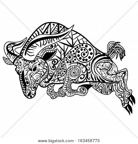 Zentangle stylized cartoon goat ram,  aries, capricorn zodiac. Hand drawn sketch for adult antistress coloring page, emblem, logo, tattoo with doodle, zentangle vector illustration
