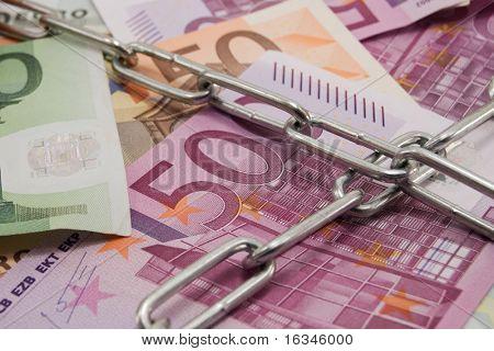 closed euro note close up