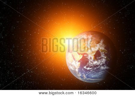 space landscape earth and sun