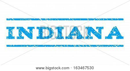Indiana watermark stamp. Text caption between horizontal parallel lines with grunge design style. Rubber seal stamp with scratched texture. Vector blue color ink imprint on a white background.