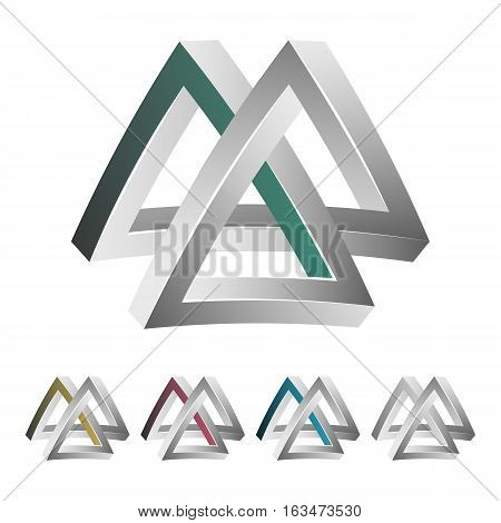 Impossible Shape. White Background. Colorful Trendy Creative Sign With Optical Illusion. Paradox Ele