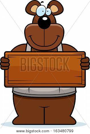 Cartoon Woodworking Bear Sign