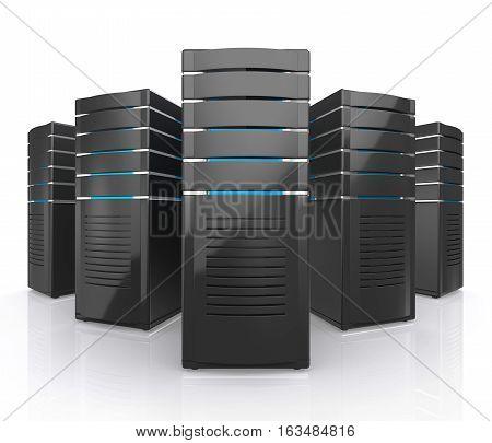 3D illustration of network workstation servers isolated on white background.