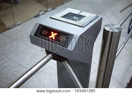 Access denied. Electronic access control system horizontal view closeup