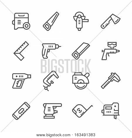 Set line icons of electric and hand tool isolated on white. Vector illustration